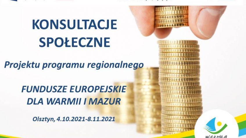 Konsultacje społeczne projektu programu regionalnego Fundusze Europejskie dla Warmii i Mazur na lata 2021-2027